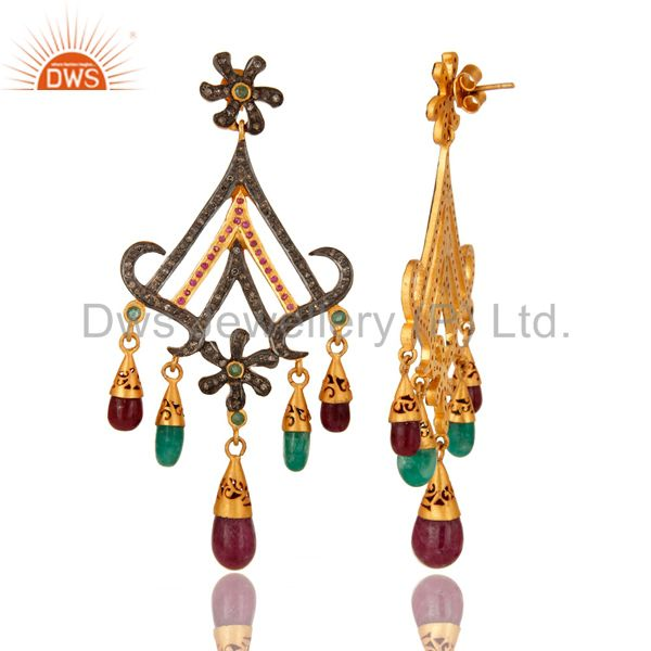 Suppliers 18K Gold And Sterling Silver Pave Diamond Ruby & Emerald Chandelier Earrings