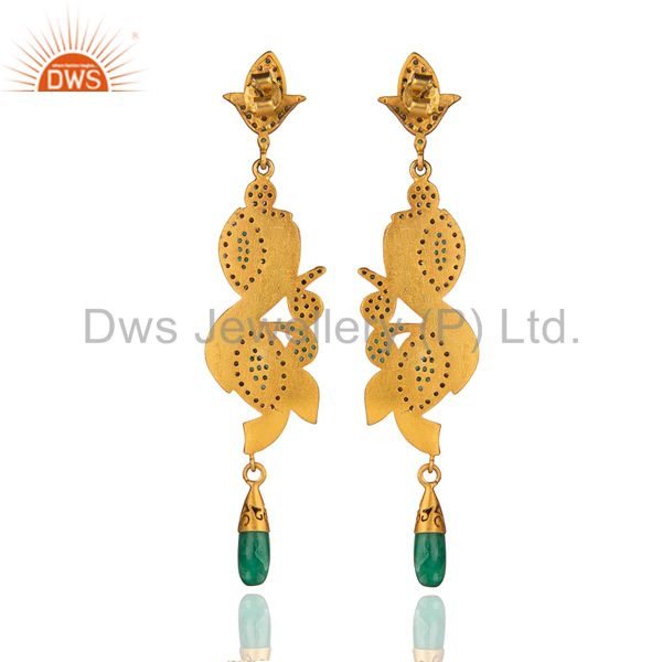 Suppliers Long Dangler!Gold Plated Sterling 925 Silver Real Diamond Pave Emerald Earring