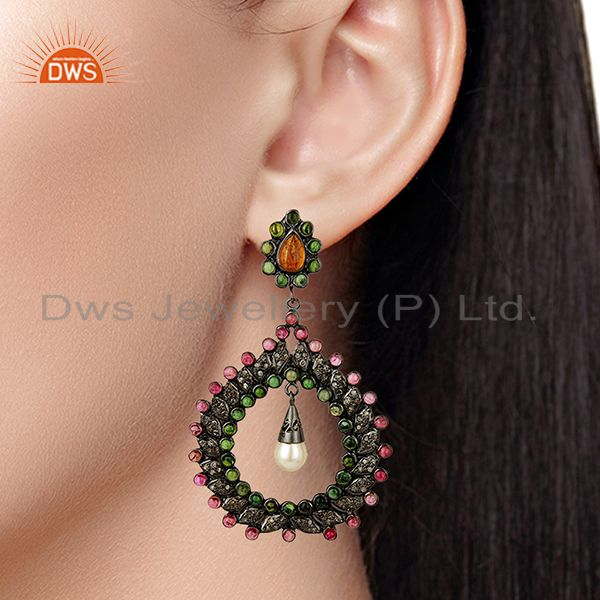 Suppliers Handamde Pave Diamond Ruby Gemstone Earrings Jewelry Manufacturer