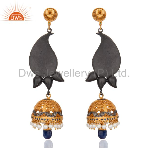 Suppliers Indian Designer Sterling Silver Pave Diamond Ruby Emerald DrOP Pearl Jhumka Earr
