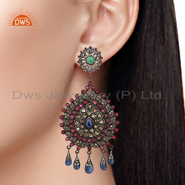 Suppliers Designer 925 Sterling Pave Diamond Gemstone Earrings Jewelry Supplier