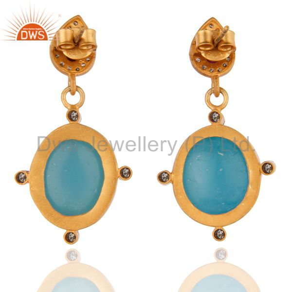 Suppliers Pave Diamond Drop 18K Yellow Gold Over Sterling Silver Blue Chalcedony Earrings