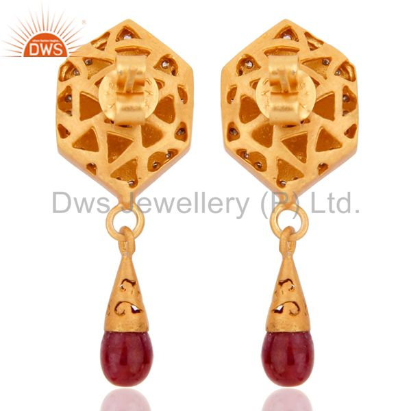 Suppliers 925 Sterling Silver Pave Set Diamond Natural Ruby Gemstone Drop Fashion Earrings