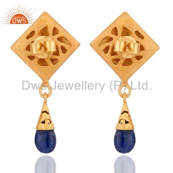 Suppliers Natural Real Pave Diamond Blue Sapphire 925 Sterling Silver Fashion Drop Earring