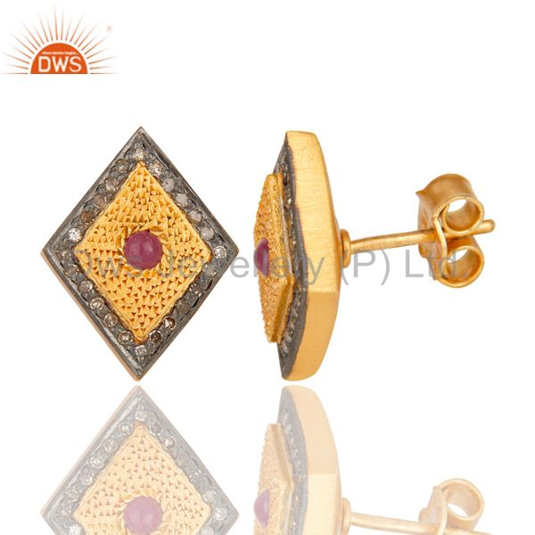 Suppliers 925 Sterling Silver Ruby Gemstone Pave Diamond Stud Earring With Gold Plated