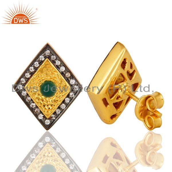 Suppliers 14K Yellow Gold Plated Sterling Silver Green Onyx And CZ Womens Stud Earrings