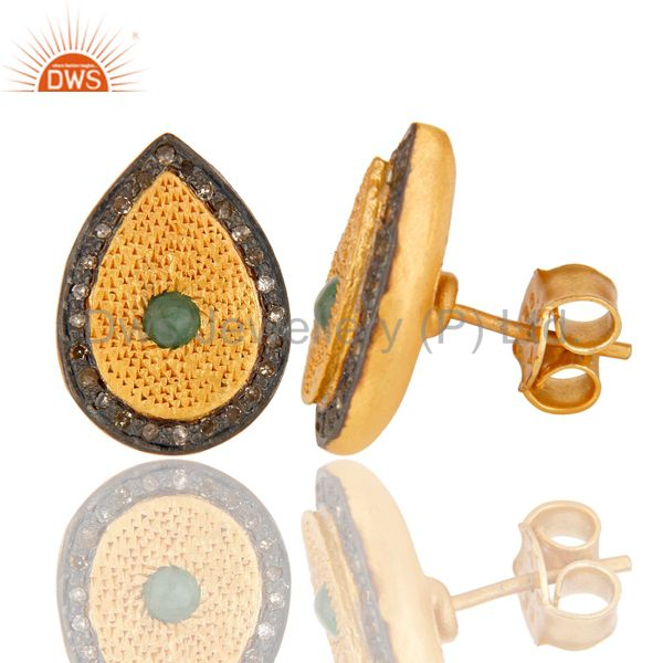 Suppliers Emerald Gemstone Pave Diamond 925 Sterling Silver Stud Earring With Gold Plated