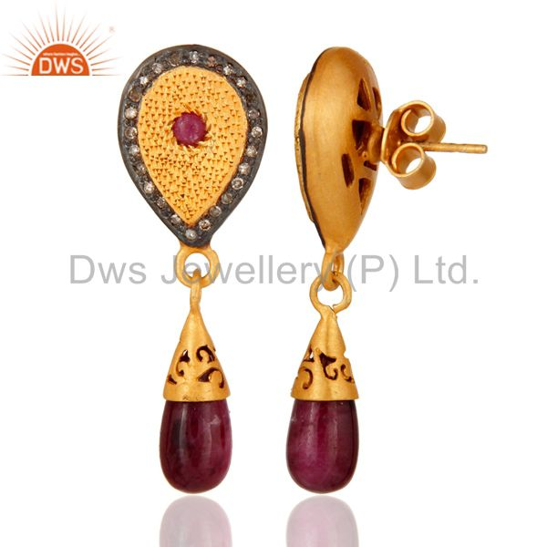 Suppliers Gold Plated 925 Sterling Silver Pave Diamond Gemstone Drop And Dangle Earrings