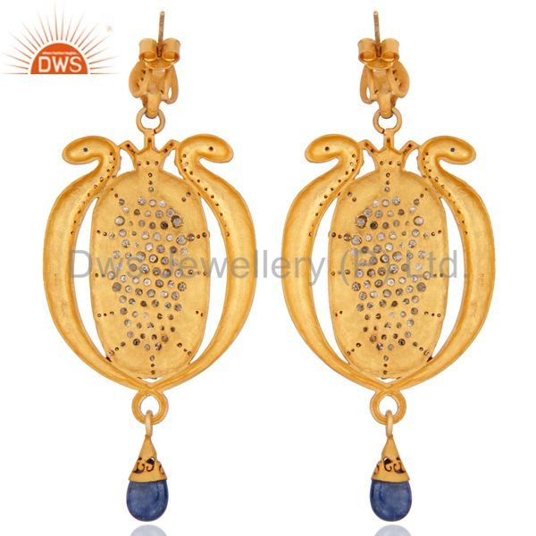 Suppliers Blue Sapphire Pave Diamond Vintage Snake 925 Silver Occasion Designer Earrings