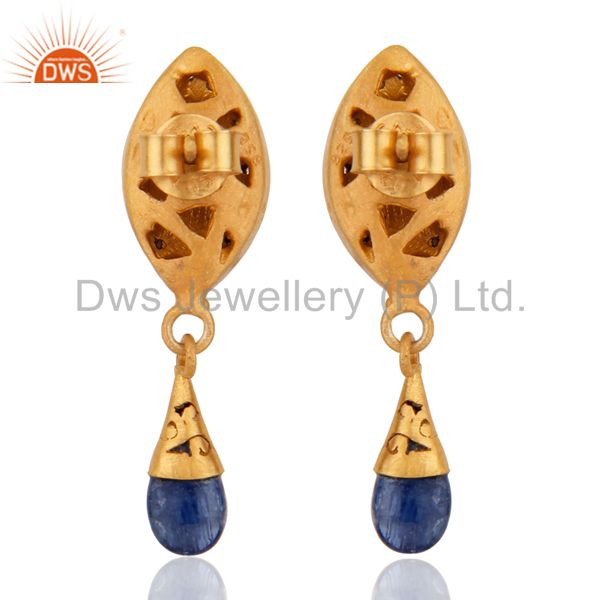 Suppliers 925 Sterling Silver Pave Diamond Blue Sapphire Drop Earring For Womens Jewelry
