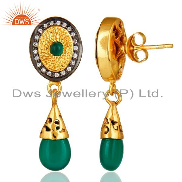 Suppliers 14K Yellow Gold Plated Sterling Silver Green Onyx Fashion Drop Earrings With CZ