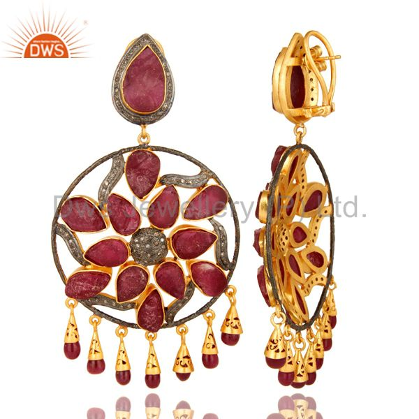 Suppliers 18K Gold Sterling Silver Ruby And Pave Diamond Wedding Chandelier Earrings