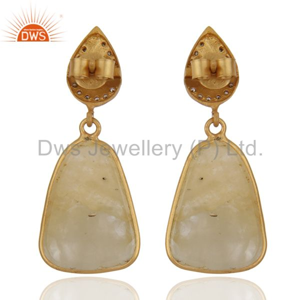 Suppliers Handmade Pave Diamond Yellow Sapphire Drop Earrings 925 Sterling Silver Jewelry