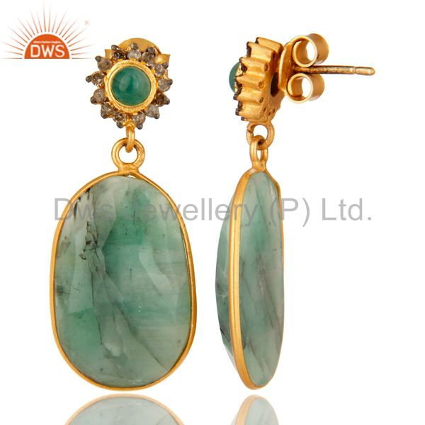 Suppliers 18K Yellow Gold Sterling Silver Pave Diamond And Emerald Bezel Set Drop Earrings