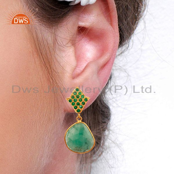 Suppliers Natural Emerald Gemstone 925 Silver Womens Earrings Jewelry Supplier