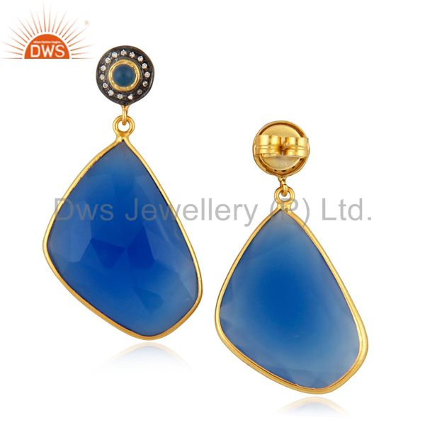 Suppliers 14K Yellow Gold Plated Blue Chalcedony Bezel Set Drop Wedding Earrings With CZ
