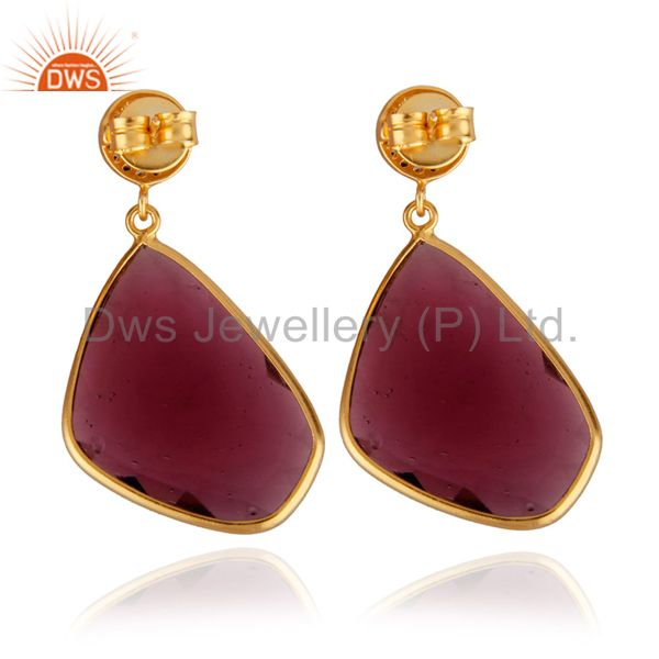 Suppliers 14K Yellow Gold Plated Ruby Pink Glass Bezel Set Wedding Drop Earrings With CZ