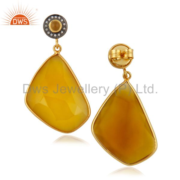 Suppliers 22k Yellow Gold Plated Yellow Natural Chalcedony Gemstone Slice Dangle Earrings
