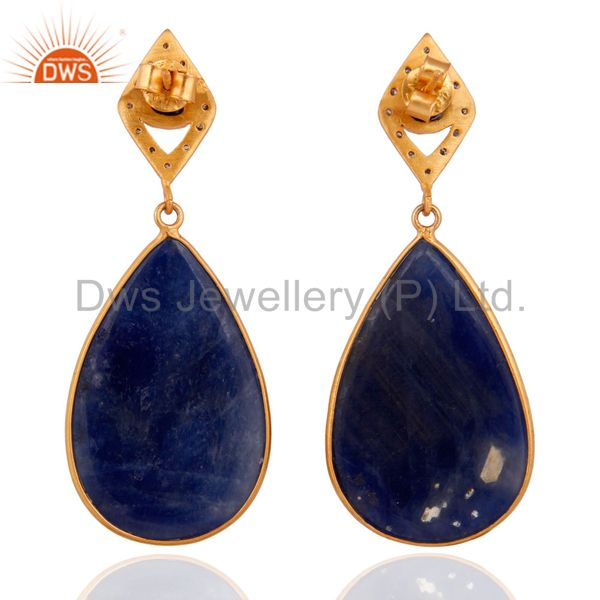 Suppliers Blue Sapphire Slice Pave Diamond Gold Plated 925 Sterling Silver Women Earrings