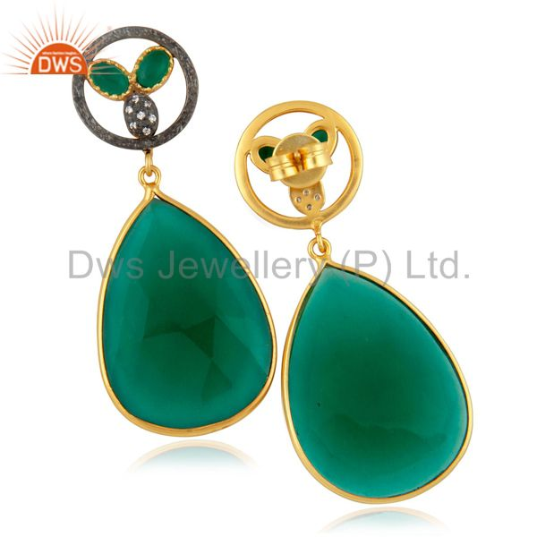 Suppliers Dyed Green Glass Faceted Gemstone Bezel-Set Gold Plated Dangle Earrings With CZ