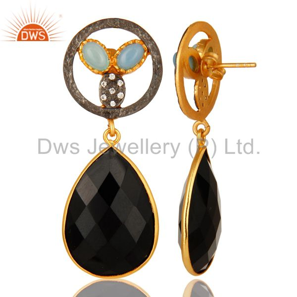 Suppliers 18K Gold Plated Aqua Blue Chalcedony And Black Onyx Bezel Set Drop Earrings
