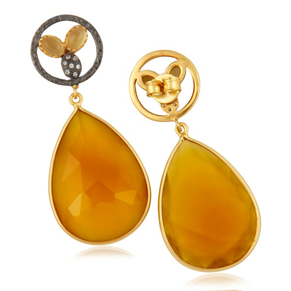 Suppliers 14K Yellow Gold Plated Brass CZ & Yellow Chalcedony Bezel Set Teardrop Earrings