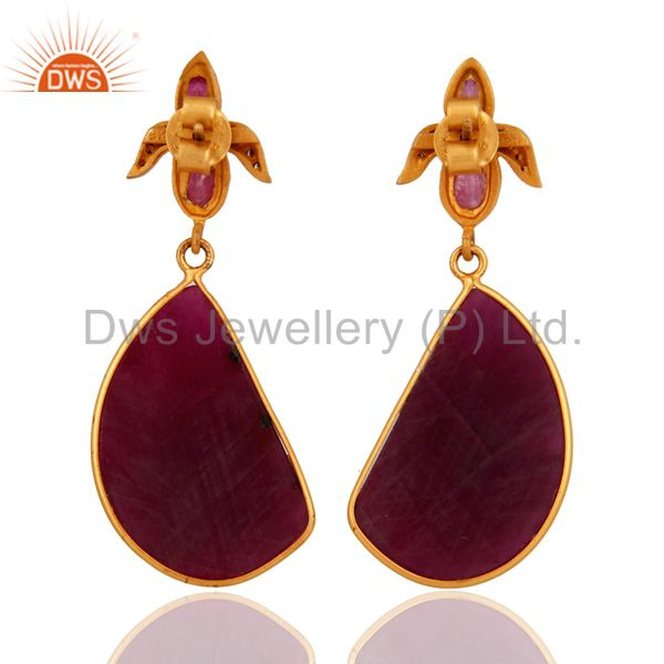 Suppliers Handmade Natural Ruby Pave Diamond 925 Sterling Silver Gemstone Drop Earrings