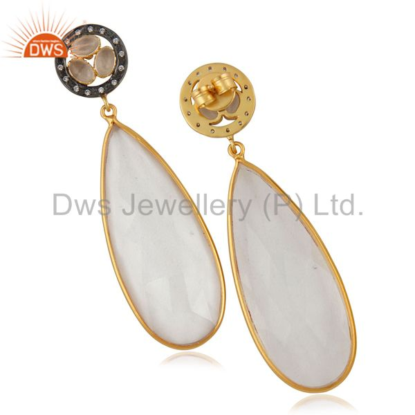 Suppliers Crystal Quartz Bezel Set Fashion Drop Earrings With CZ In 14K Gold Over Brass