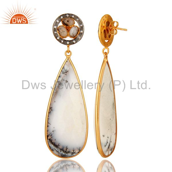 Suppliers Handmade Dendritic Opal Bezel Set Dangle Earrings Made In 18K Gold On Brass