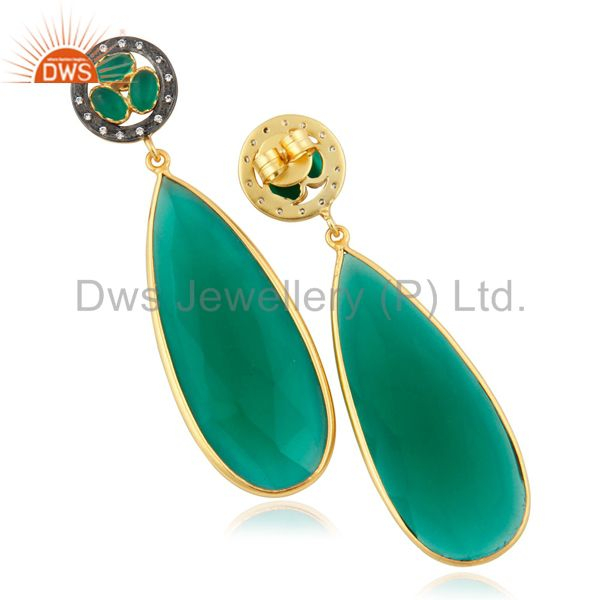 Suppliers Bezel Setting Faceted Green Glass Gemstone Drop Earrings With Gold Plated