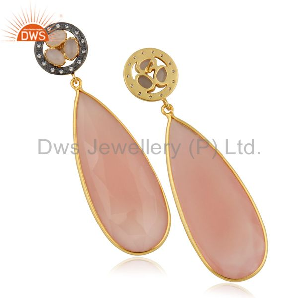Suppliers 14K Yellow Gold Plated Rose Chalceodny Bezel Set Teardrop Earrings With CZ