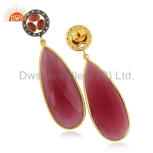 Suppliers Pink Glass Bezel Set Fashion Long Drop Earrings With CZ In 14K Gold Over Brass