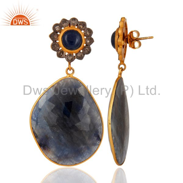 Suppliers Handmade 925 Sterling Silver Natural Sapphire Gemstone Pave Diamond Drop Earrins