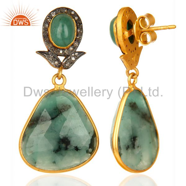 Suppliers Natural Diamond And Emerald Dangle Earring,Large Emerald Earring