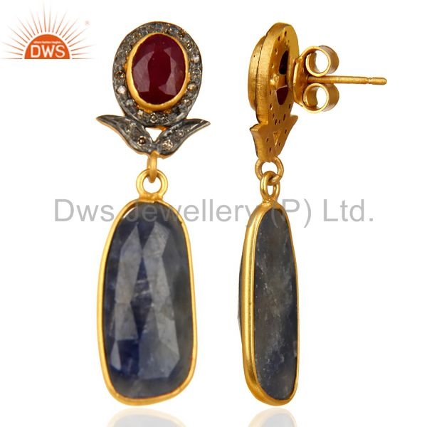 Suppliers Natural Diamond And Sapphire Dangle Earring,Large Sapphire Earring