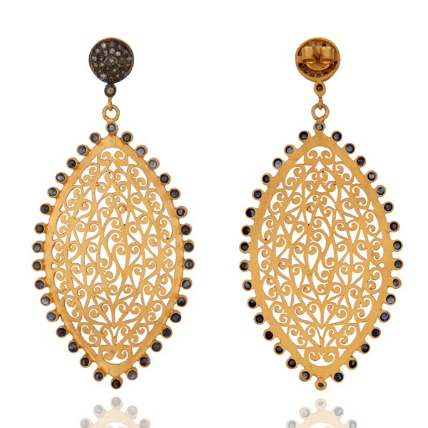 Suppliers 18K Gold Sterling Silver Pave Diamond And Blue Sapphire Filigree Design Earrings