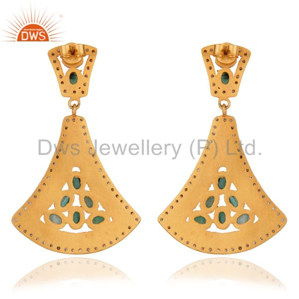 Suppliers Exquisite 24K Gold Plated 925 Silver Earring Classic Emerald Earring Jewelry