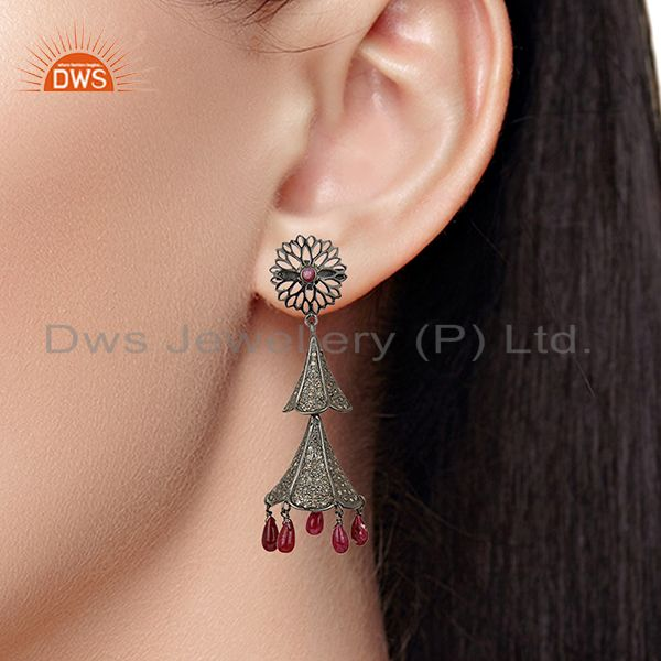 Suppliers Antique Pave Diamond Ruby Gemstone Silver Earrings Jewelry Supplier