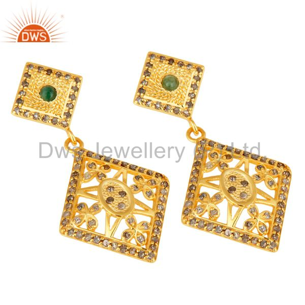 18K Yellow Gold Over 925 Sterling Silver Emerald & Pave Diamond Earrings From Jaipur India