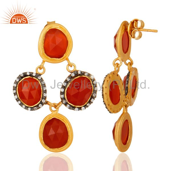 Suppliers Natural Carnelian Gemstone Sterling Silver With Gold Plated Chandelier Earrings