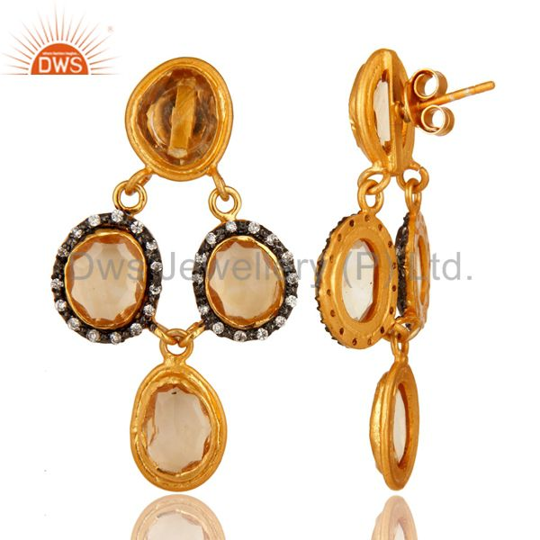 Suppliers 14K Gold Plated Sterling Silver Citrine And White Zircon Earrings
