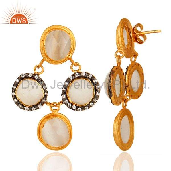 Suppliers Design White Moonstone Sterling Silver CZ Earrings - Gold Plated