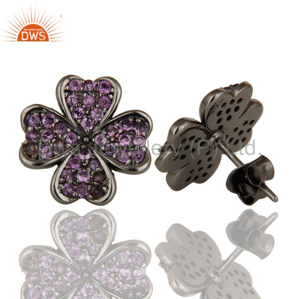 Suppliers Flower Design Stud Black Oxidizd Sterling Silver Stud with Amethyst