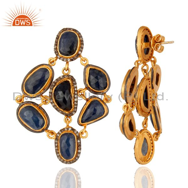 Suppliers Handmade Pave Diamond Natural Blue Sapphire Gemstone 925 Sterling Silver Earring