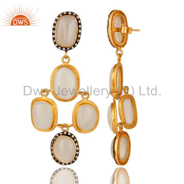 Suppliers 18K Yellow Gold Plated Sterling Silver White Agate & CZ Designer Dangle Earrings