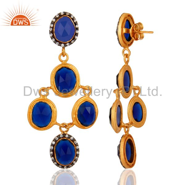 Suppliers Stunning Gold Plated Sterling Silver Blue Corundum Gemstone Designer Earrings