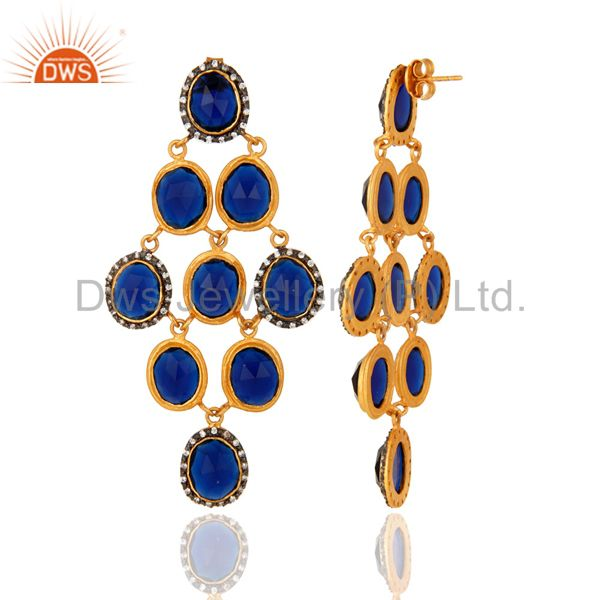 Suppliers 18K Yellow Gold Plated Sterling Silver Blue Corundum Chandelier Earrings With CZ