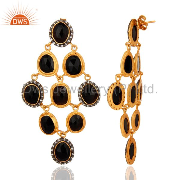 Suppliers Black Onyx Gemstone Designer Chandelier Earrings In 18K Gold On Sterling Silver