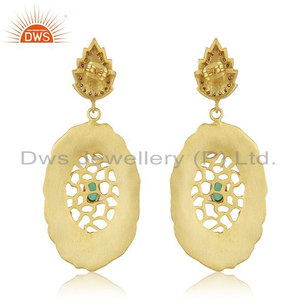 Suppliers 18kt Gold Plated Cubic Zirconia Green Glass Designer Handmade Earring Jewelry
