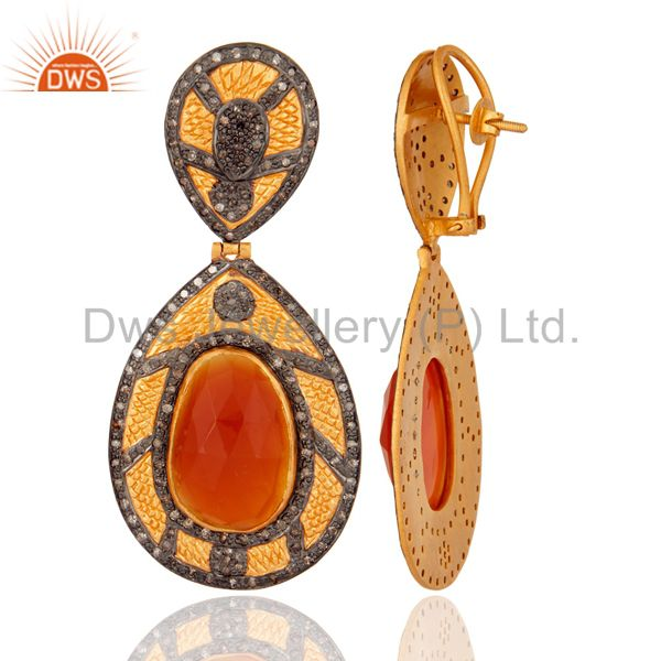 Suppliers 925 Sterling Silver Over 18k Gold Plated Carnelian Gemstone Diamond Earring Jewe